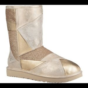 UGG Classic Patchwork Gold Leather Boots